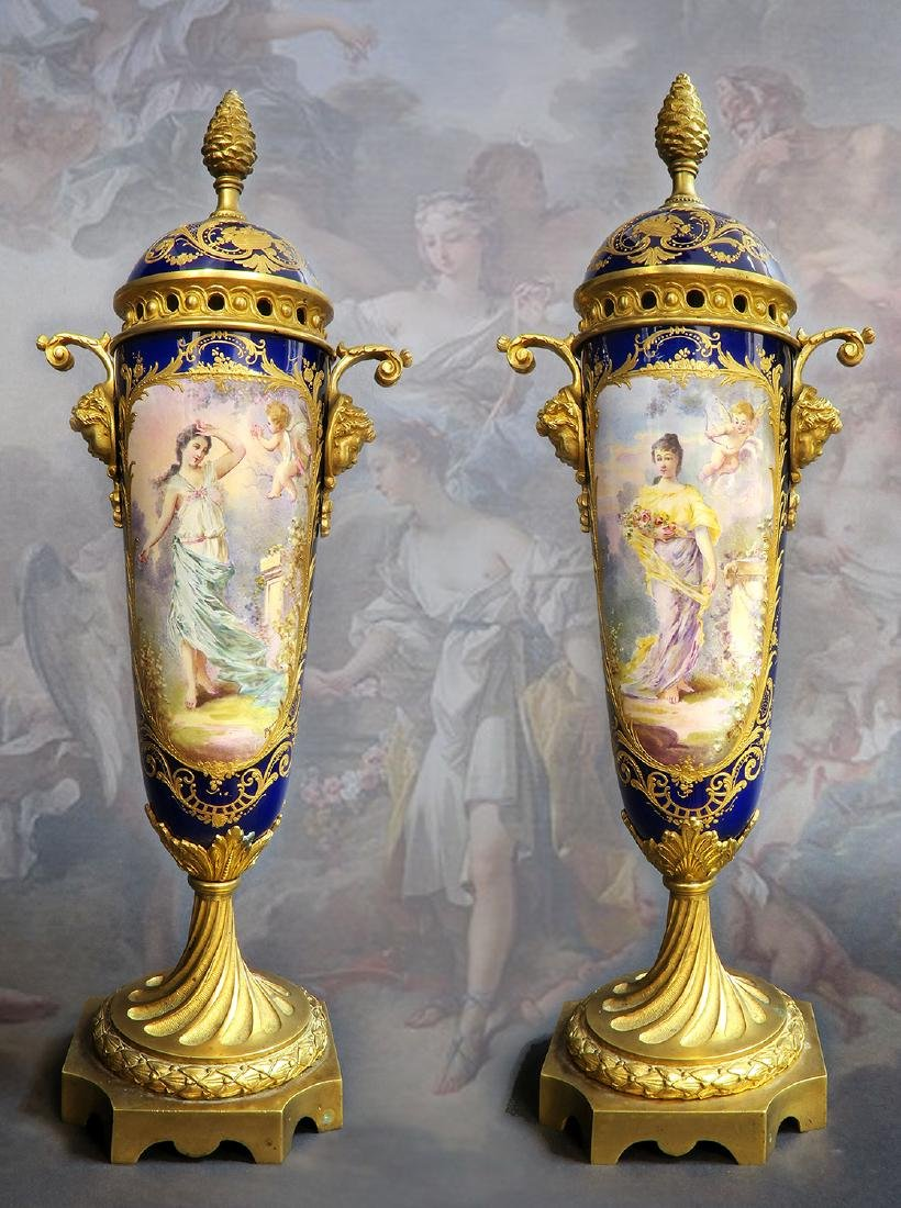 19th C. Large Pair of French Bronze & Sevres Porcelain