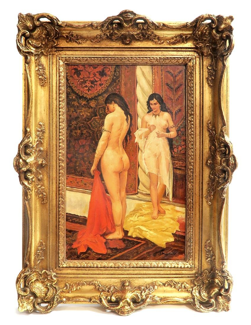 19th C Oil On Board Orientalist Harem Painting by J.