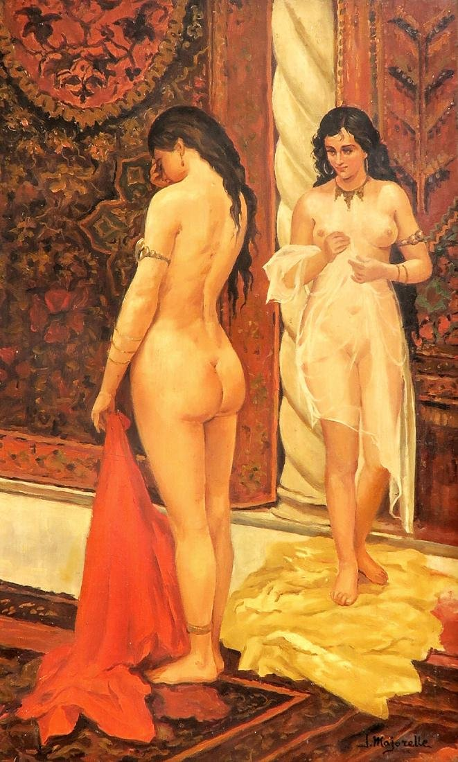 19th C Oil On Board Orientalist Harem Painting by J. - 2