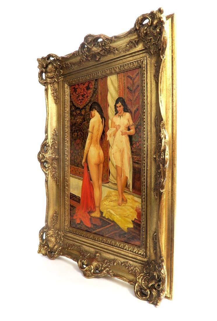 19th C Oil On Board Orientalist Harem Painting by J. - 3