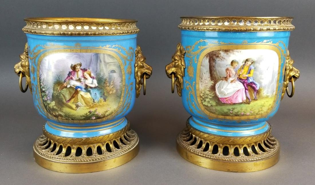 Pair of 19th C. Bronze Mouneted Sevres Vases