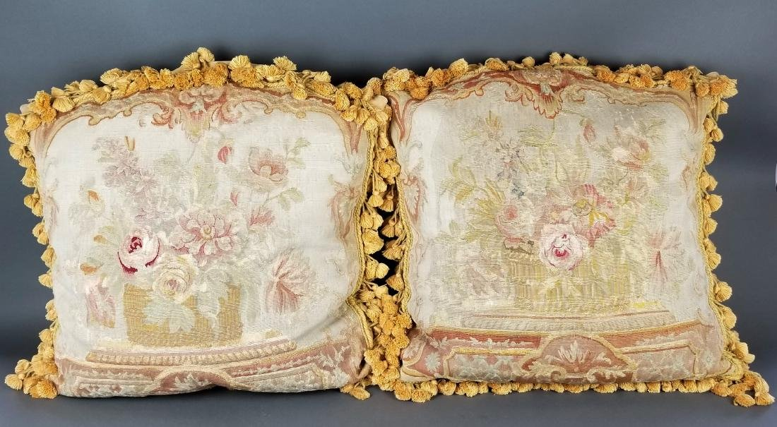 Pair of French Aubusson Needlepoint Pillows, 19th C.