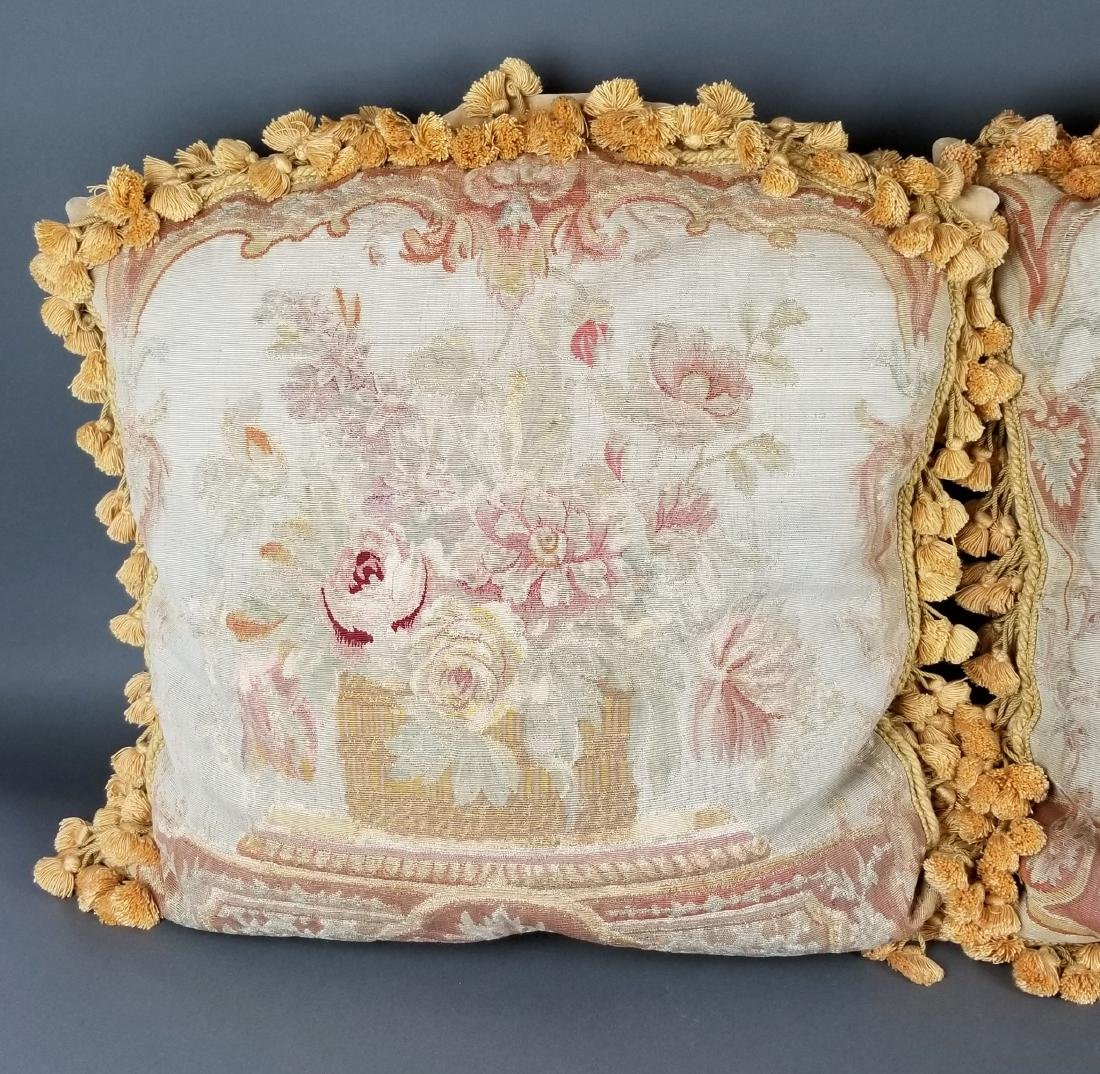 Pair of French Aubusson Needlepoint Pillows, 19th C. - 2