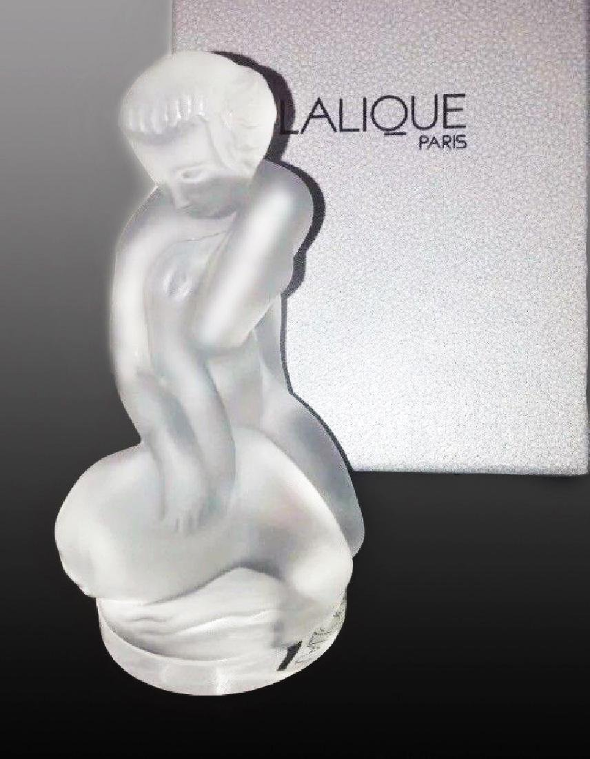 """Lalique """"Leda and The Swan"""" Crystal Figurine, Signed"""