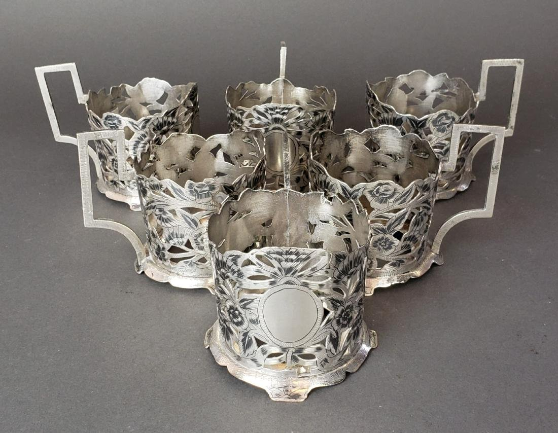 Set of 6 Persian Ahvaz Silver Cup Holders