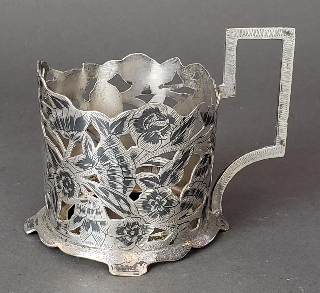 Set of 6 Persian Ahvaz Silver Cup Holders - 2