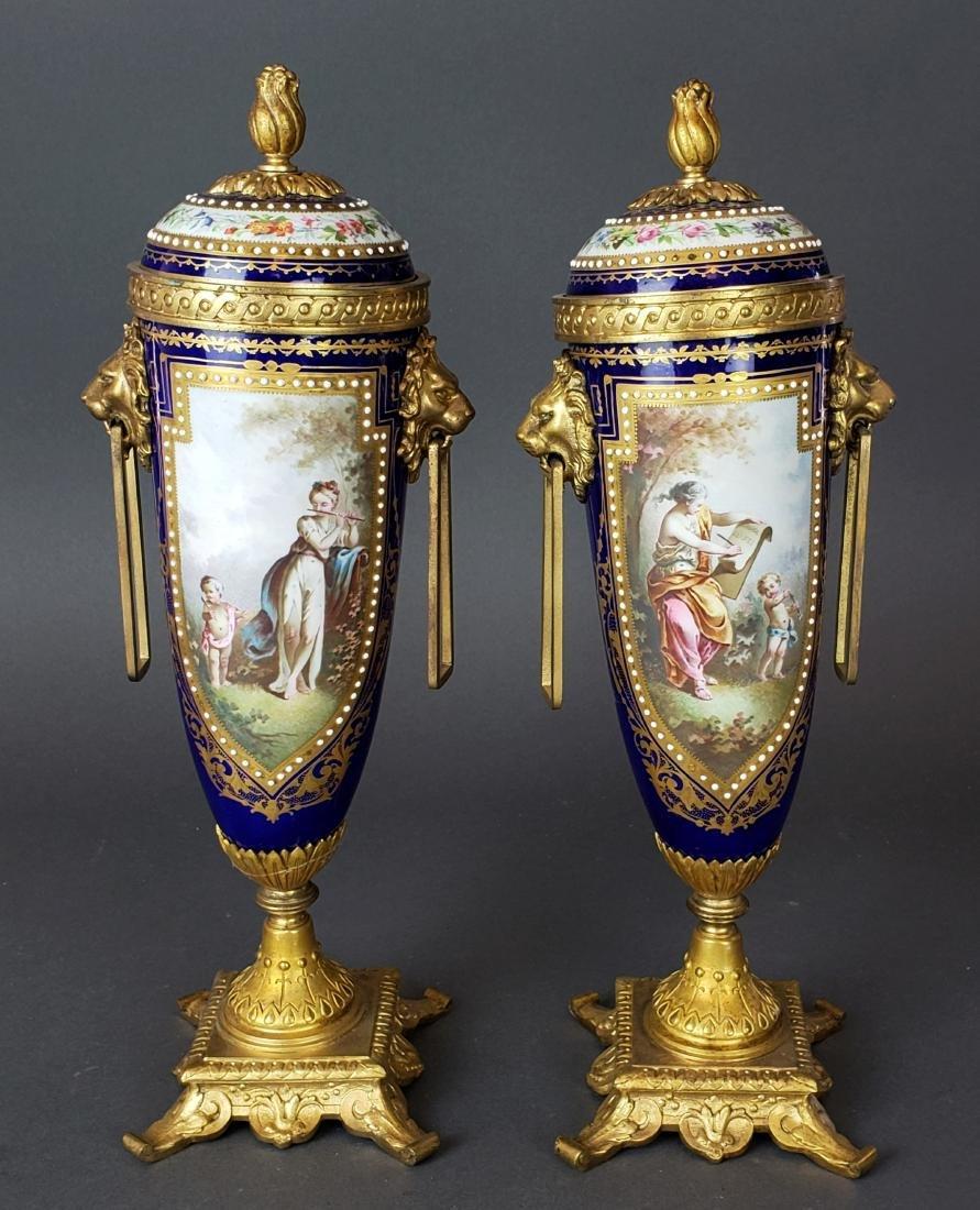 Pair of 19th C. Sevres Porcelain & Bronze Cobalt Urns