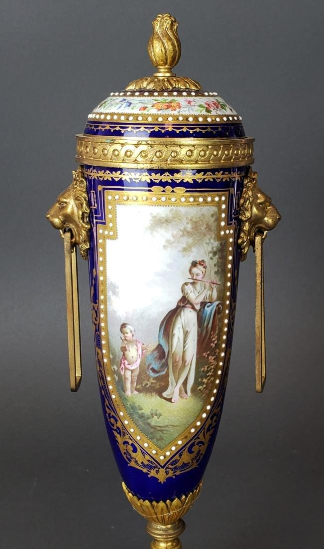Pair of 19th C. Sevres Porcelain & Bronze Cobalt Urns - 2