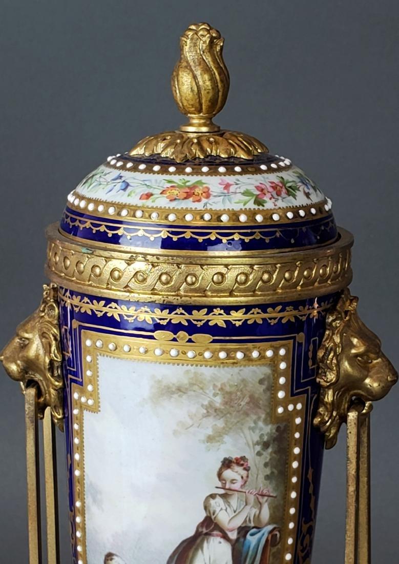 Pair of 19th C. Sevres Porcelain & Bronze Cobalt Urns - 3