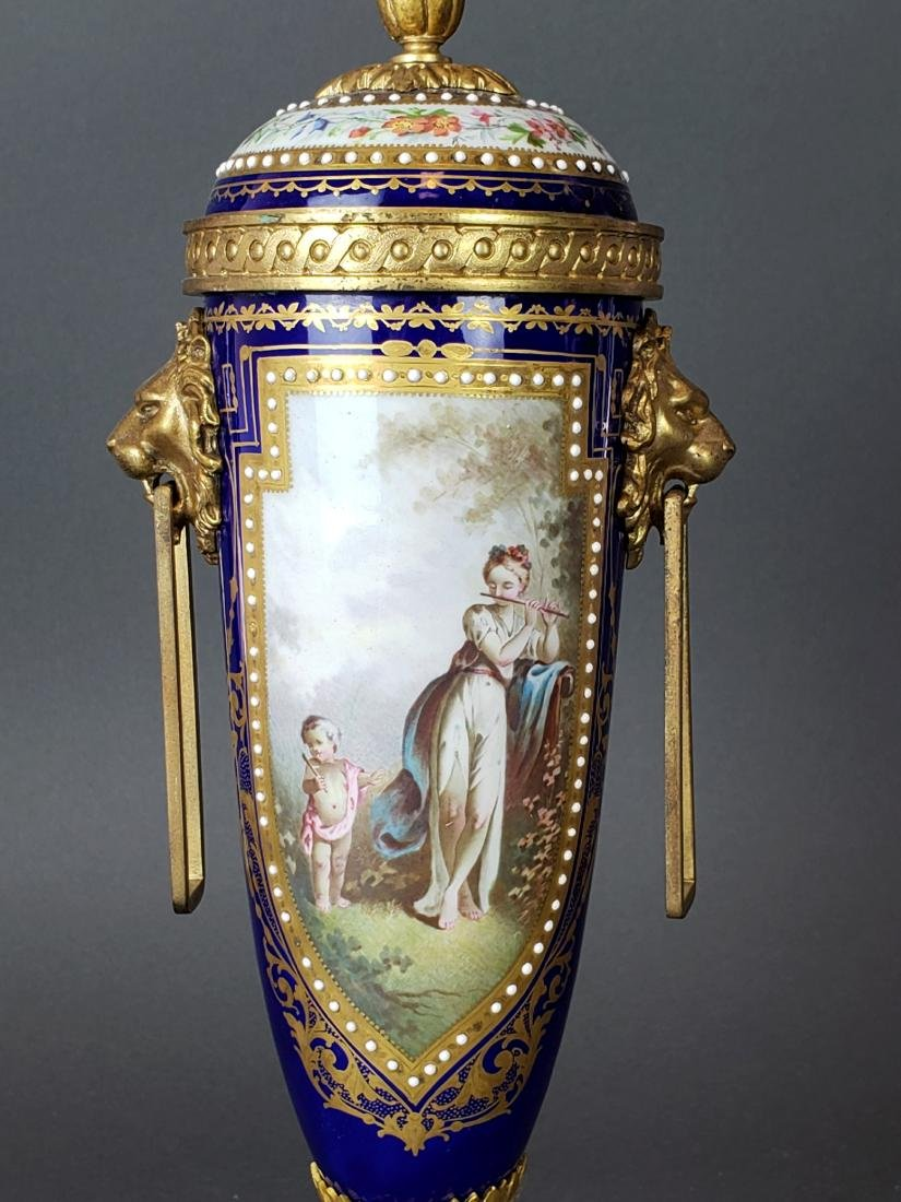 Pair of 19th C. Sevres Porcelain & Bronze Cobalt Urns - 4