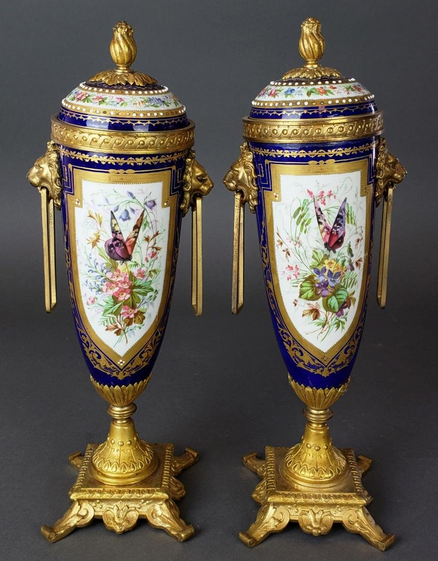 Pair of 19th C. Sevres Porcelain & Bronze Cobalt Urns - 6