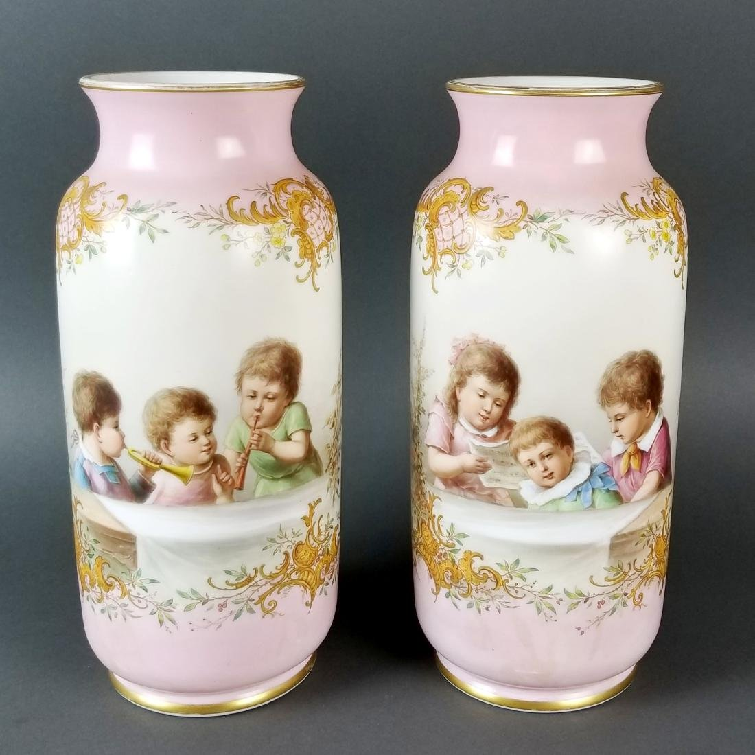 Pair Baccarat Opaline 19th C. Vases