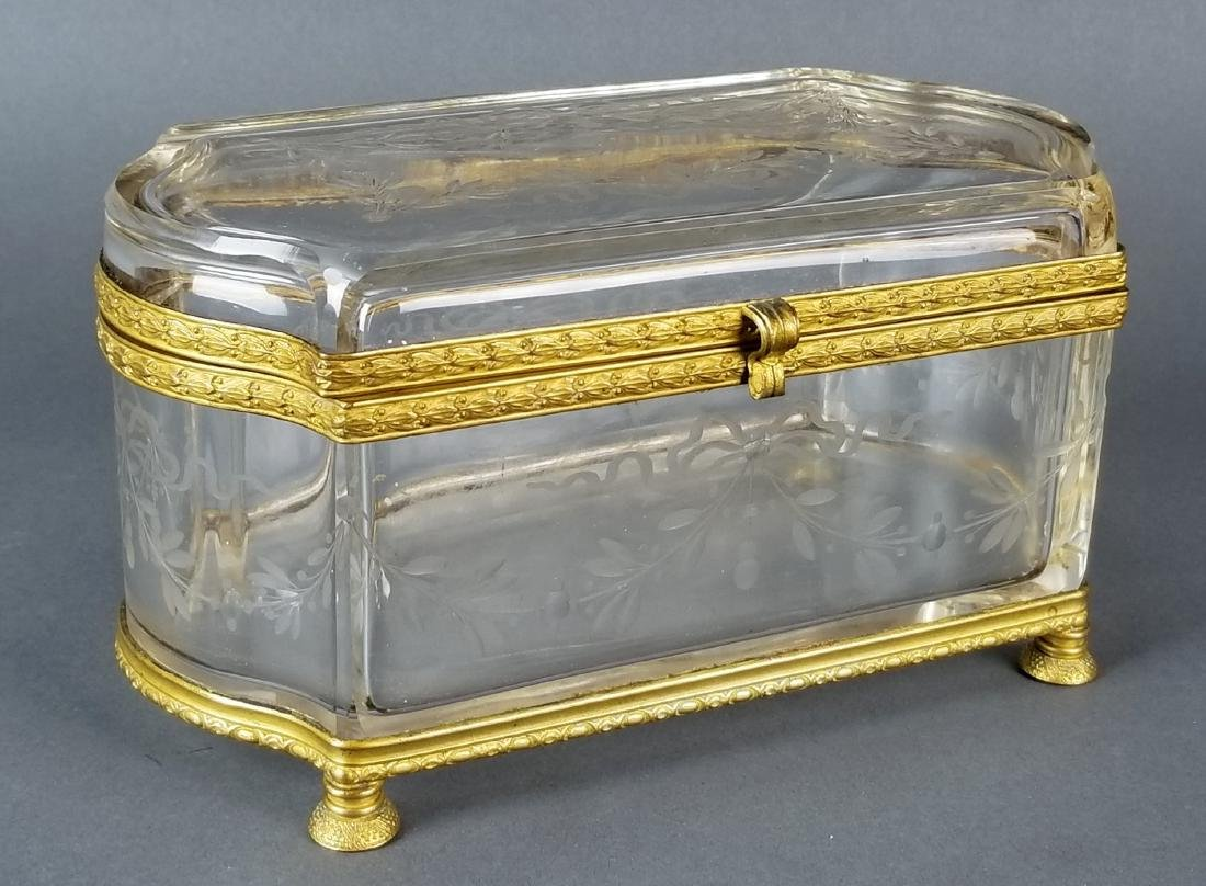 French Baccarat Crystal & Bronze Jewelry Box