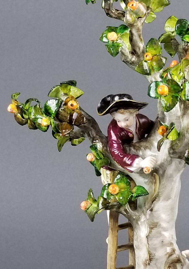 19th C. Meissen Porcelain Figural Group picking Oranges - 5