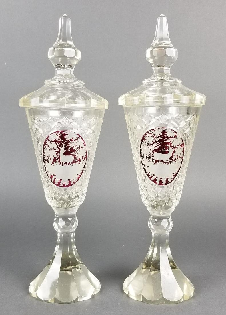 Pair of 19th C. Bohemian Lidded Vases