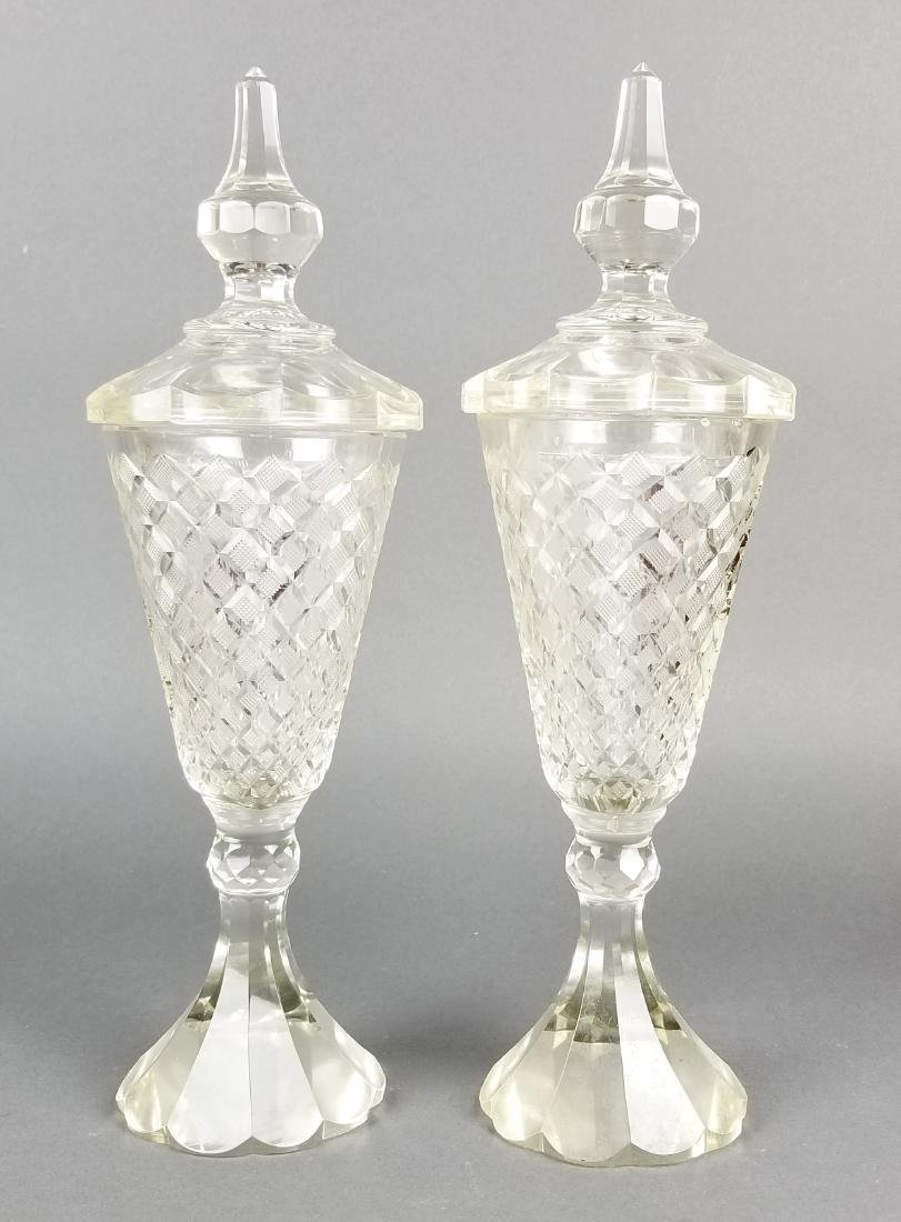 Pair of 19th C. Bohemian Lidded Vases - 4