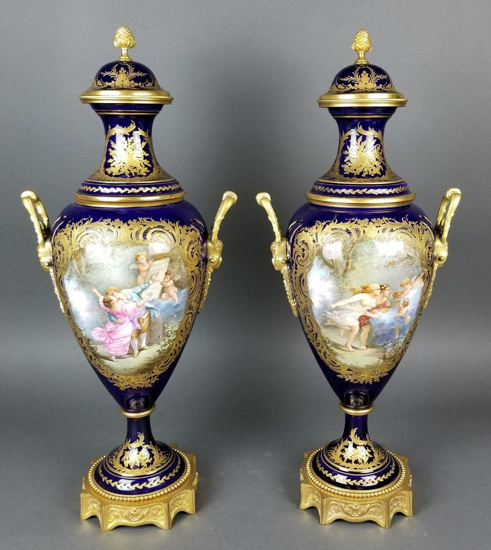 Pair of 19th C. Sevres Bronze and Porcelain Vases