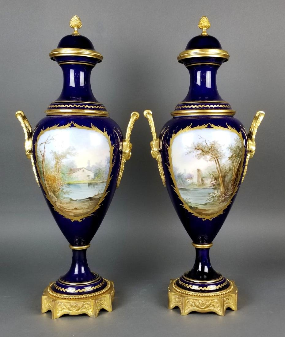 Pair of 19th C. Sevres Bronze and Porcelain Vases - 7