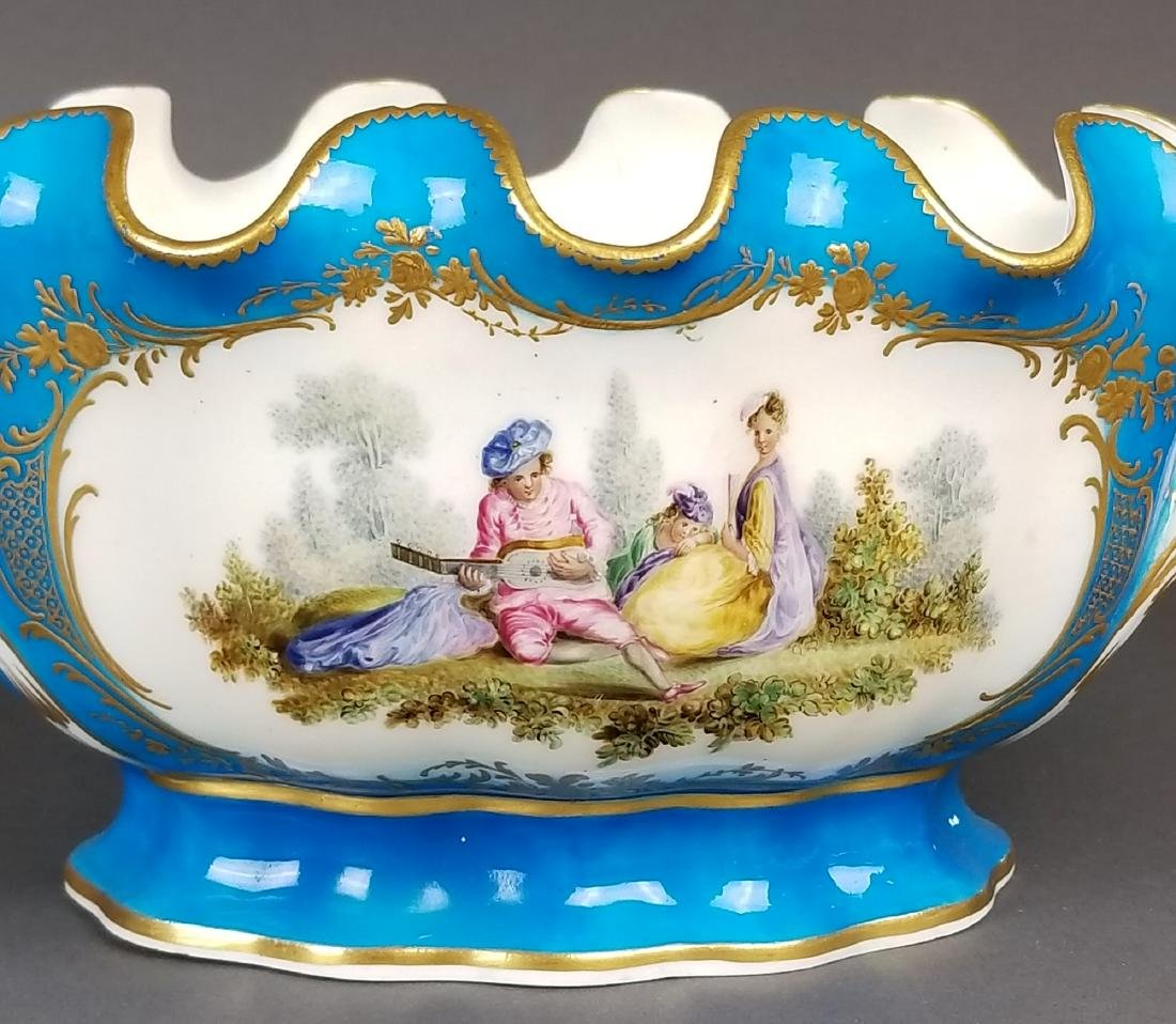 19th C. Pair of Sevres French Porcelain Vases - 4