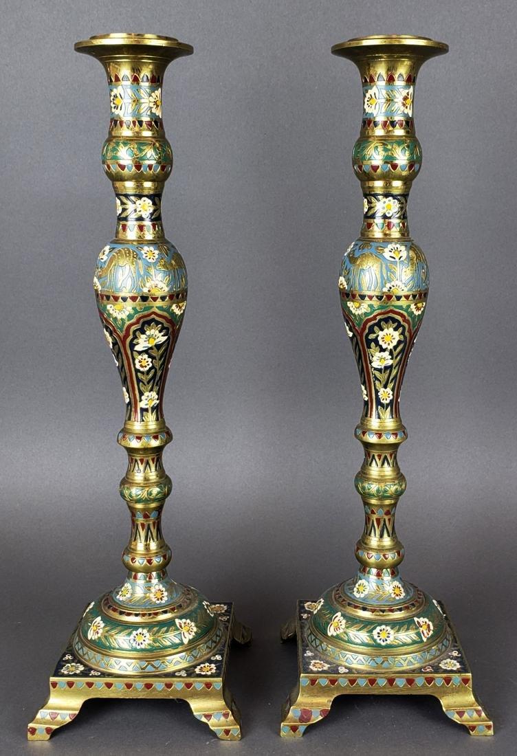 Pair of Large Champleve Enamel & Bronze Candlesticks