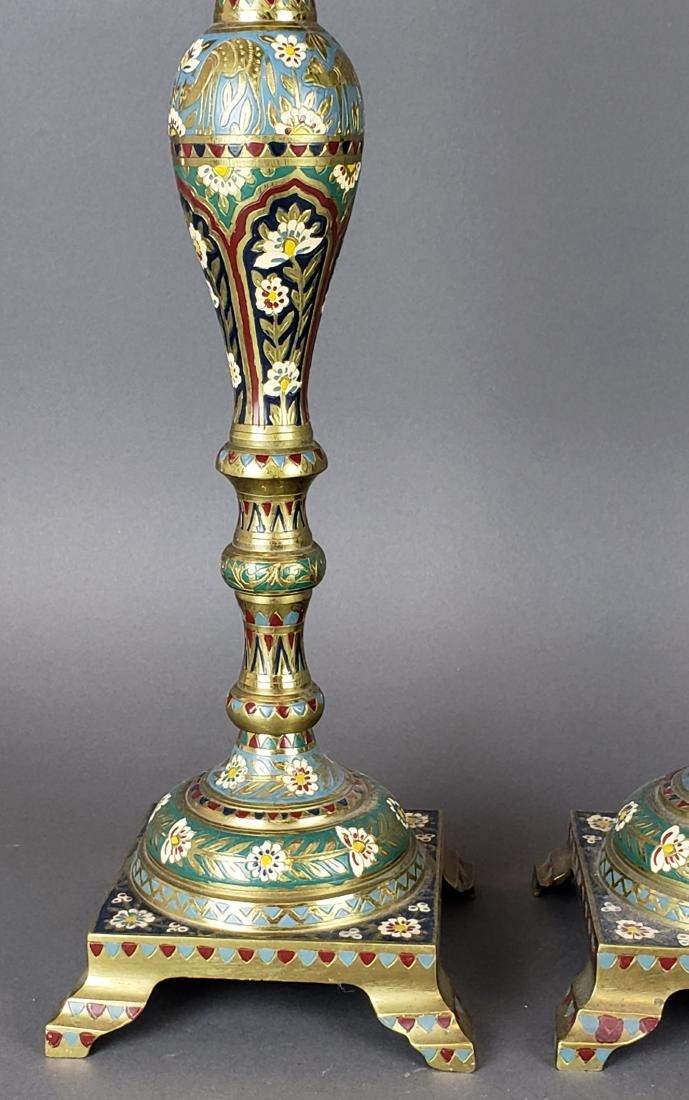 Pair of Large Champleve Enamel & Bronze Candlesticks - 3