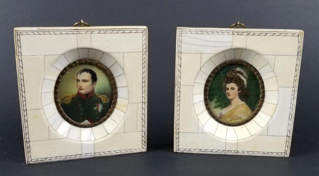 Pair of Late 19th C. Miniature Portraits in Frames, One