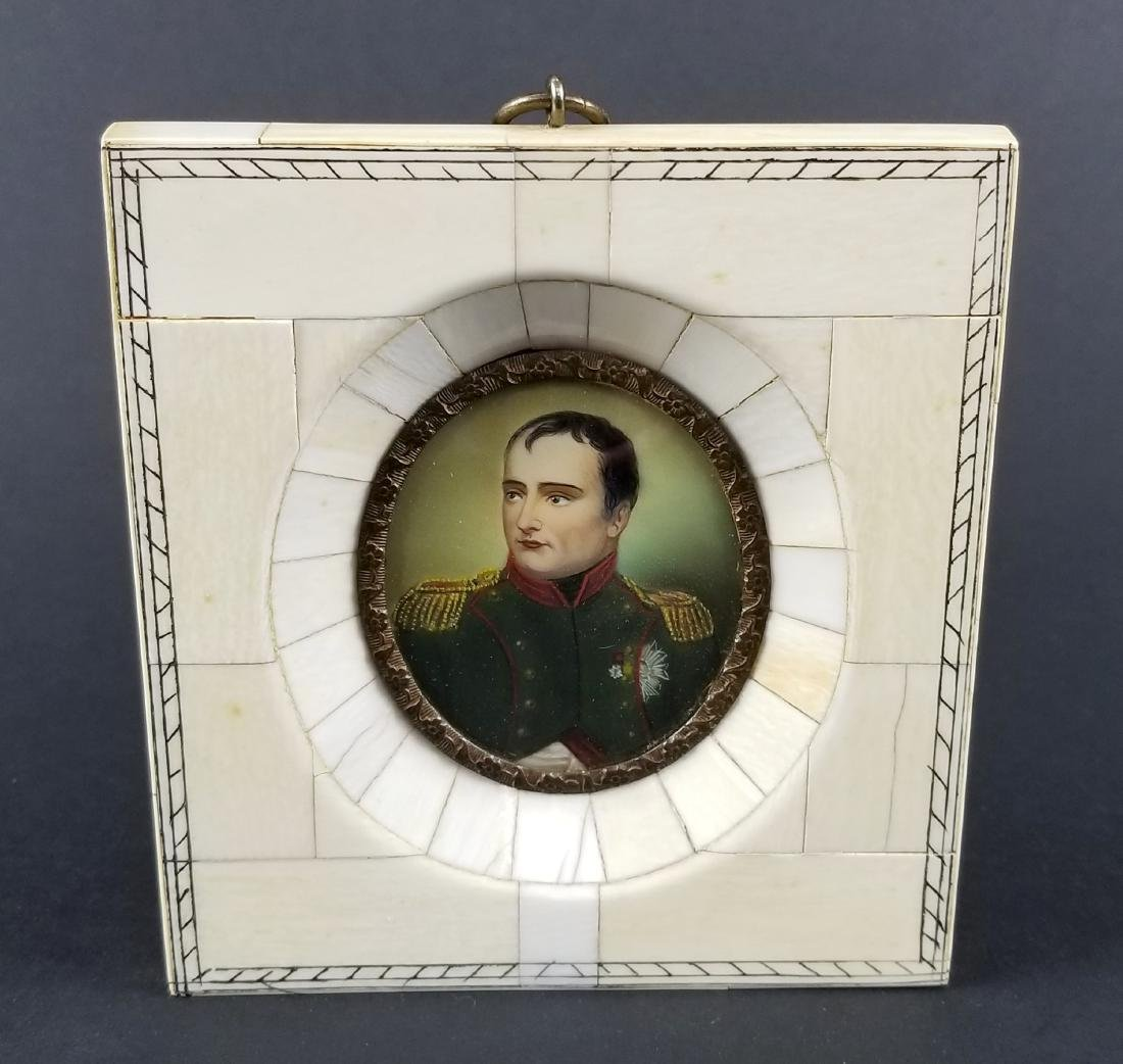 Pair of Late 19th C. Miniature Portraits in Frames, One - 2