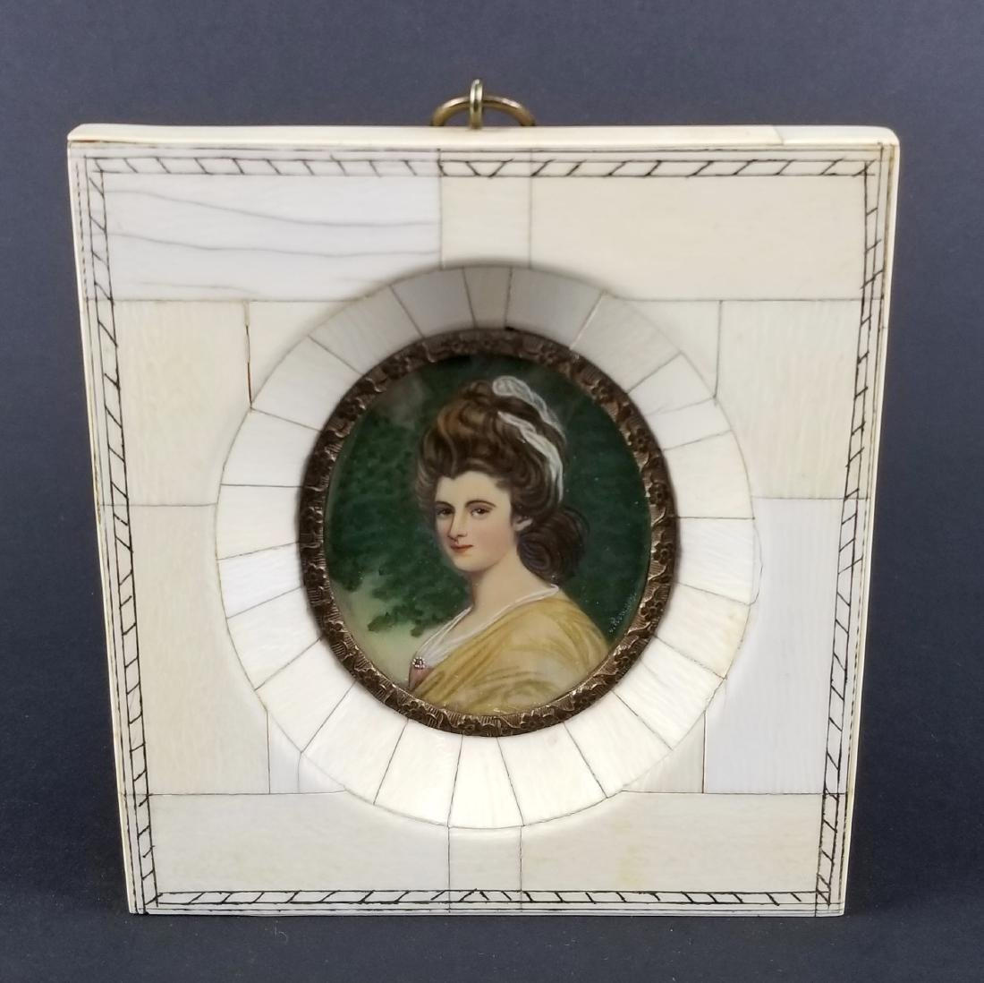 Pair of Late 19th C. Miniature Portraits in Frames, One - 4