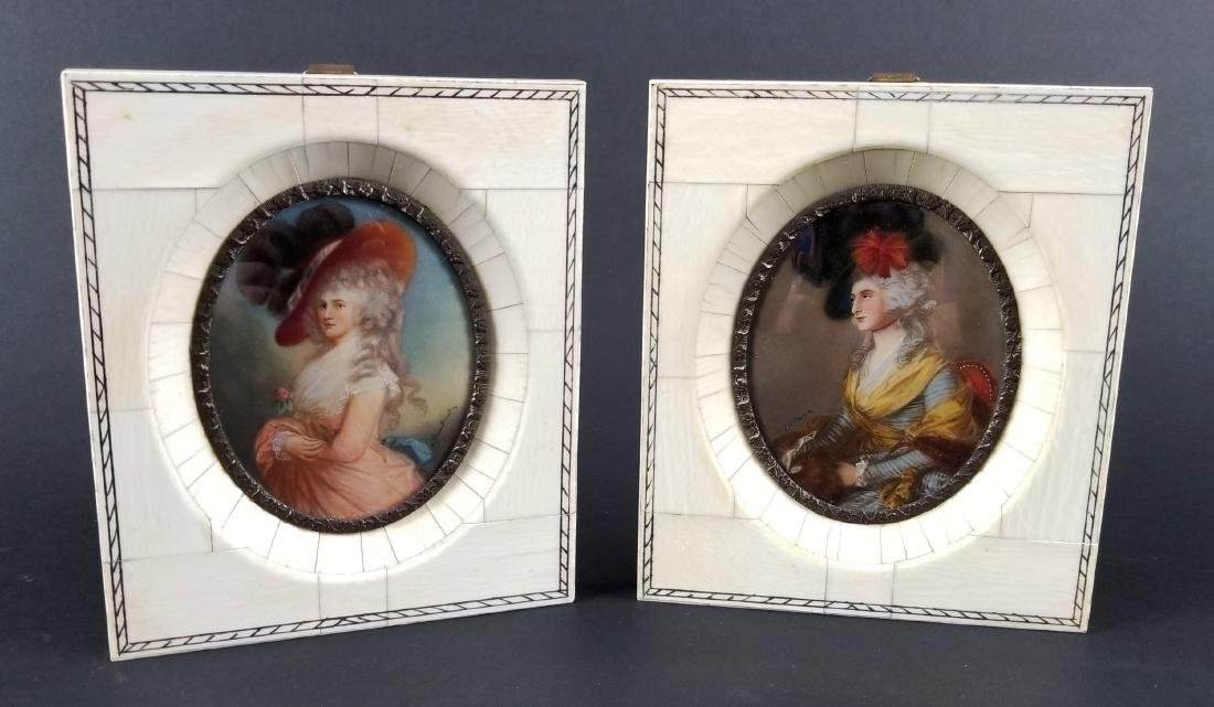 Early 19th C. Pair of Framed Miniature Portraits of