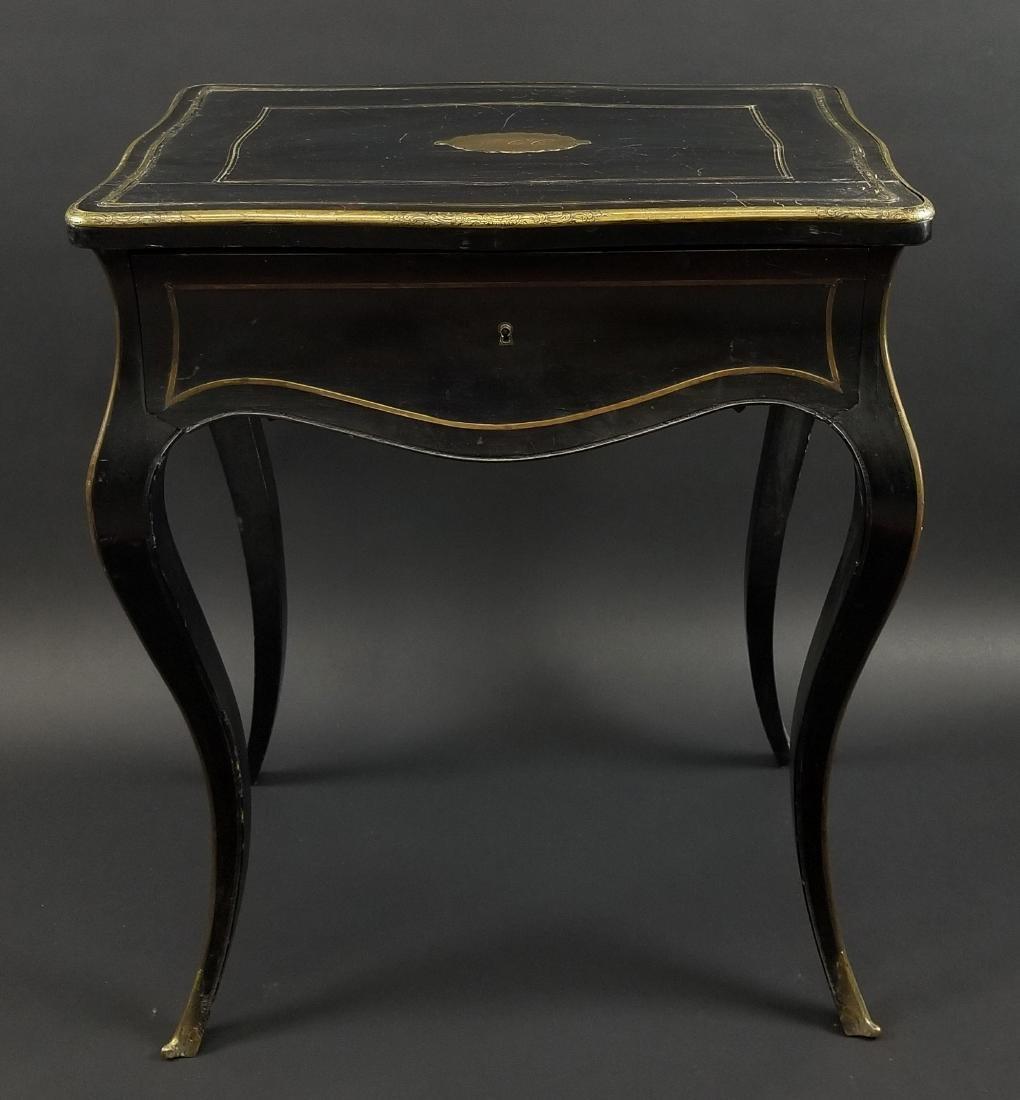 Late 19th C. French Napoleon III Black Ebony Table w/