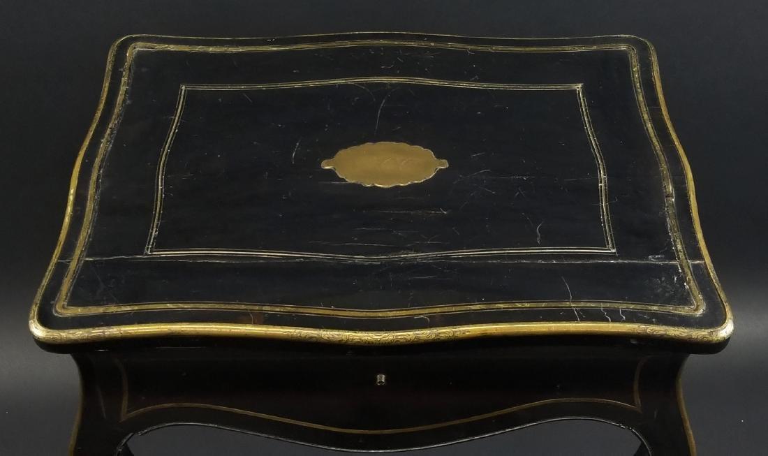 Late 19th C. French Napoleon III Black Ebony Table w/ - 4