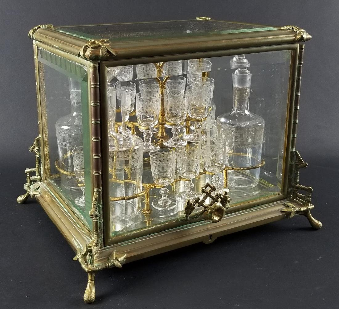 Late 19th C. French Gilt Bronze Mounted Glass Cave a