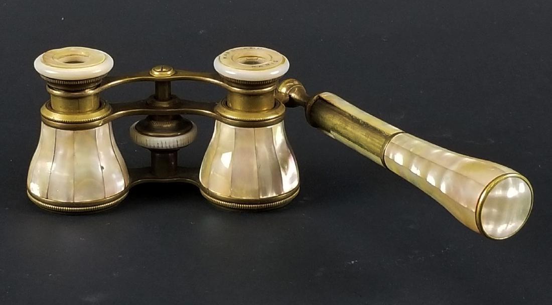 19th C. French Bronze and Enamel Binoculars