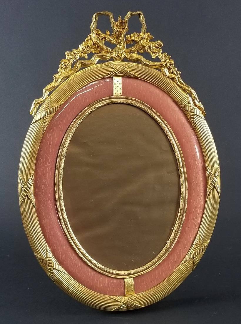 French Gilt Bronze and Pink Enamel Picture Frame, Circa