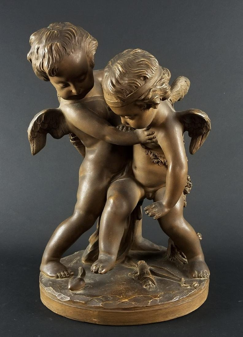 """French Terracotta Figural Group """"Deux Amours"""", Circa"""