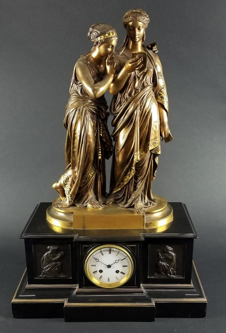 19th C. French Bronze Figural Clock Signed Societe des