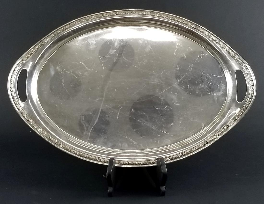 Sterling Silver Rose Bouquet Handled Tray