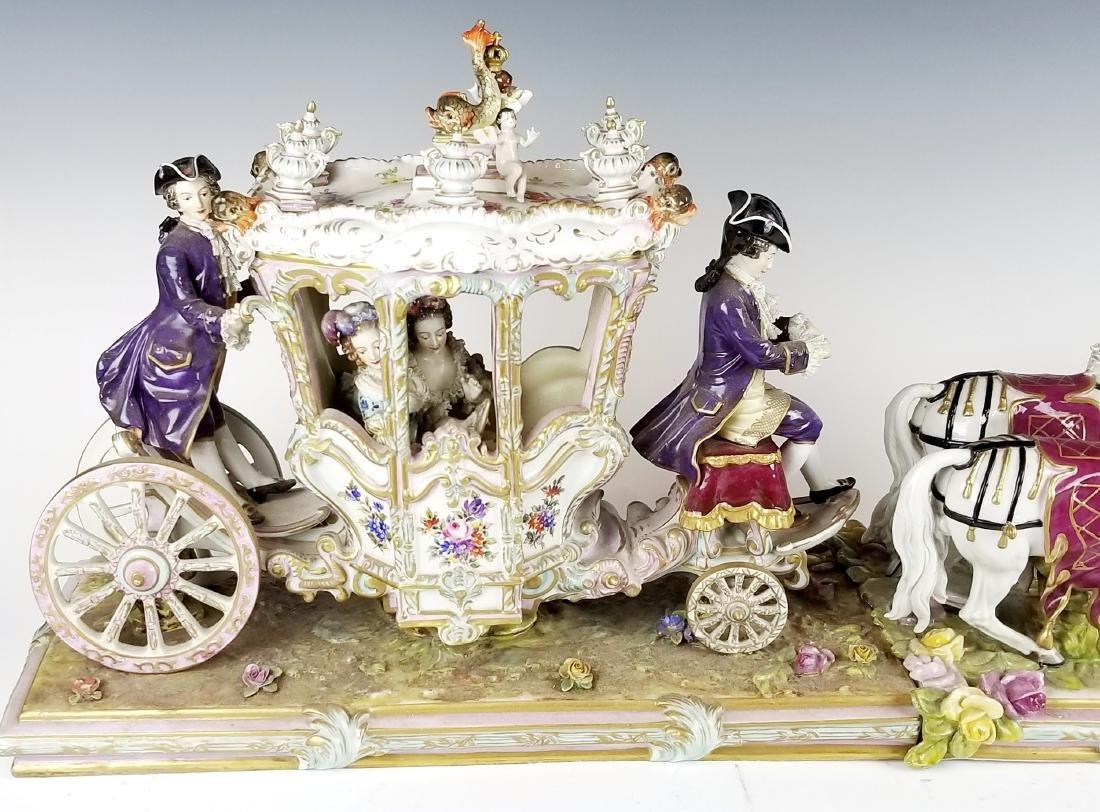 19th C. German Porcelain Carriage - 2
