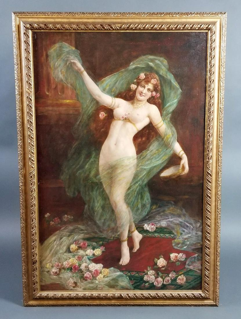 19th C. Orientalist Painting of Nude Maiden Signed,
