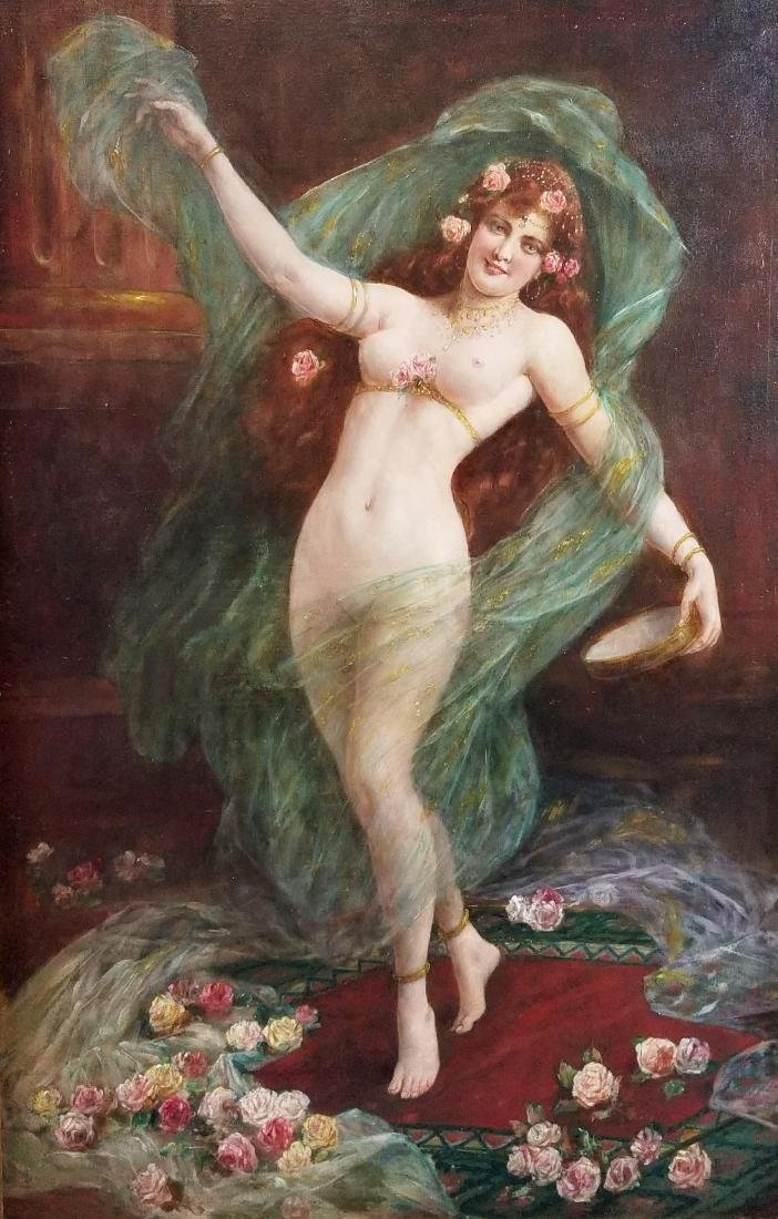 19th C. Orientalist Painting of Nude Maiden Signed, - 2