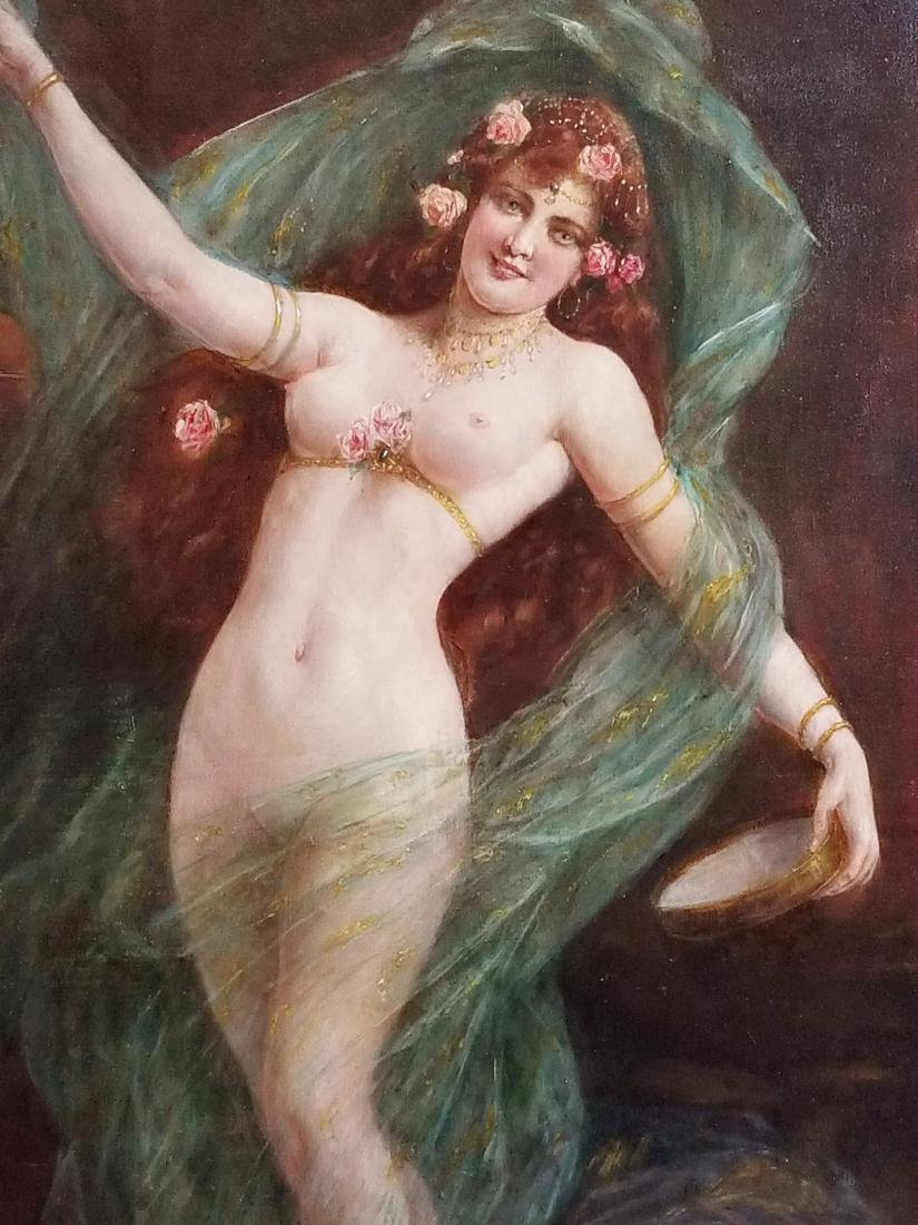 19th C. Orientalist Painting of Nude Maiden Signed, - 3
