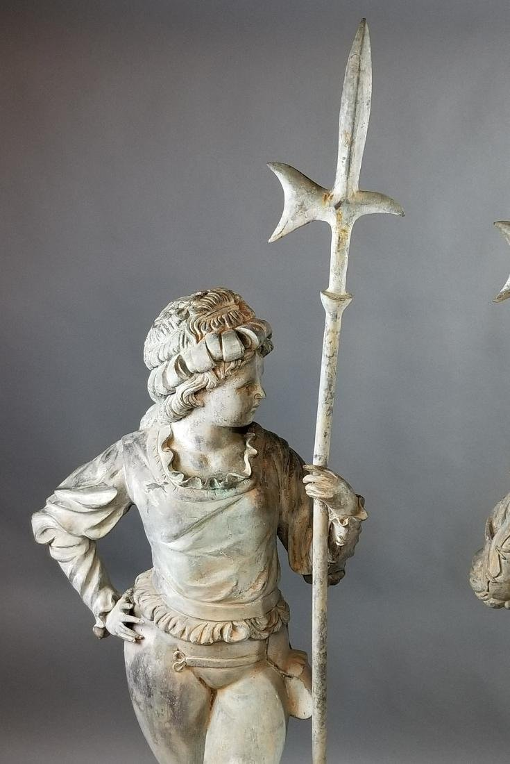 Pair of Large 20th C. Patinated Bronze Statue Lamps - 2