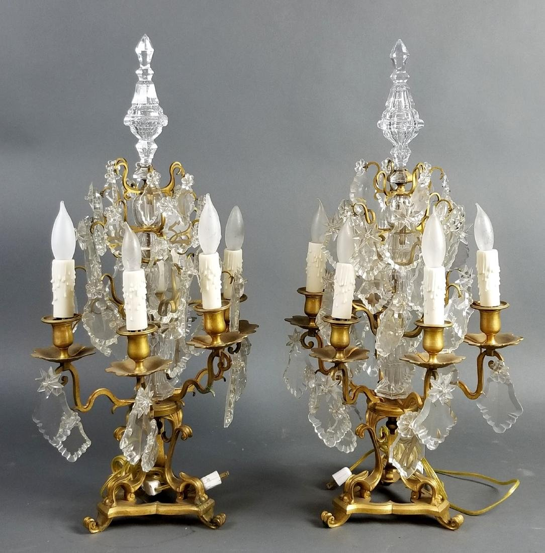 Pair of 19th C. Bronze and Crystal Candelabra Lamps