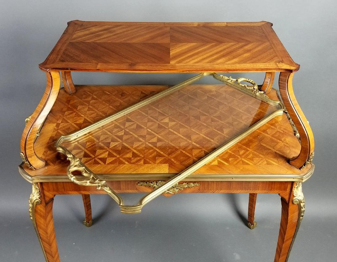 19th C. French Louis XVI Style 2 Tier Serving Table - 6