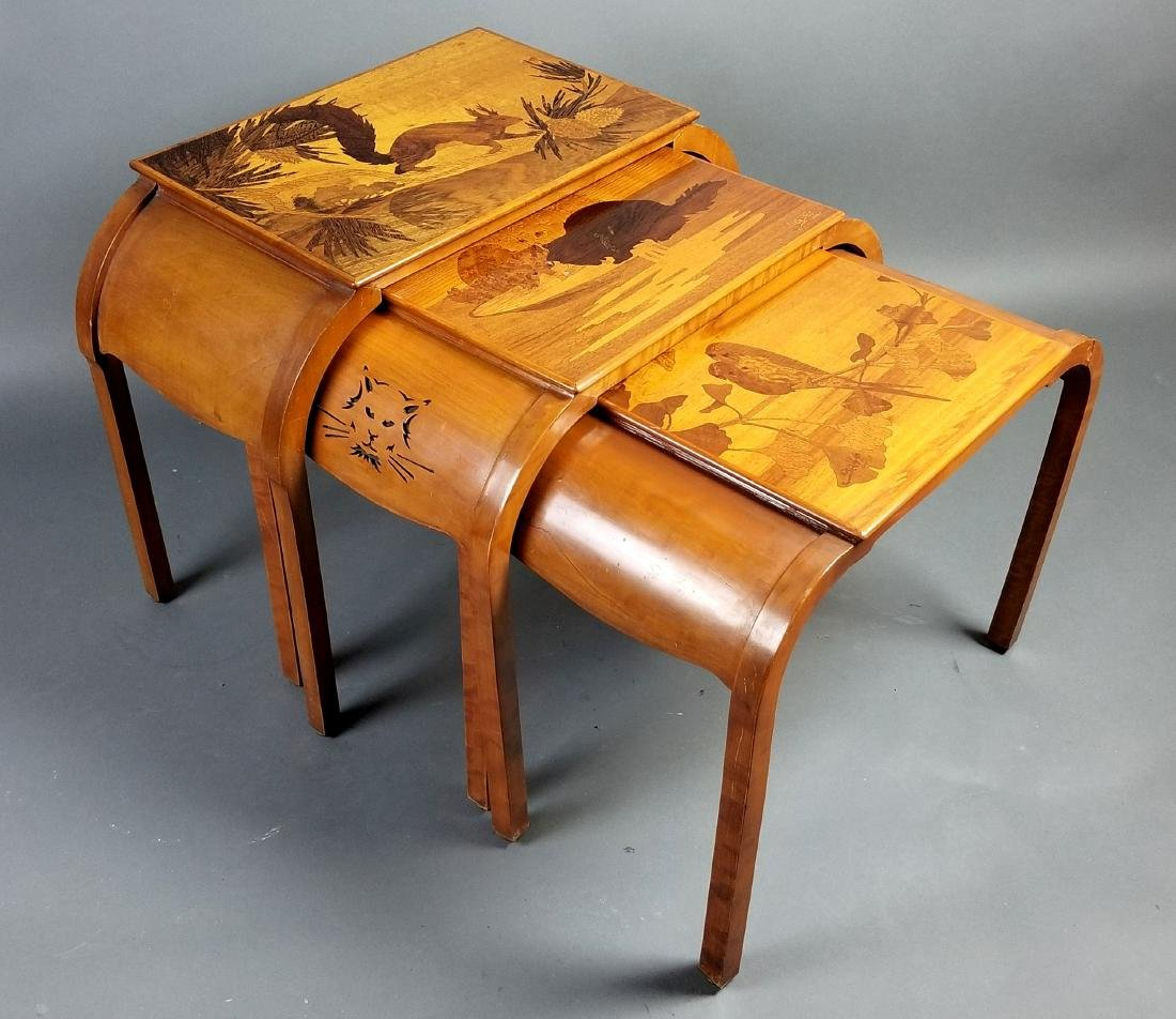 Set of 3 Galle French Inlaid Wood Sectional Tables,
