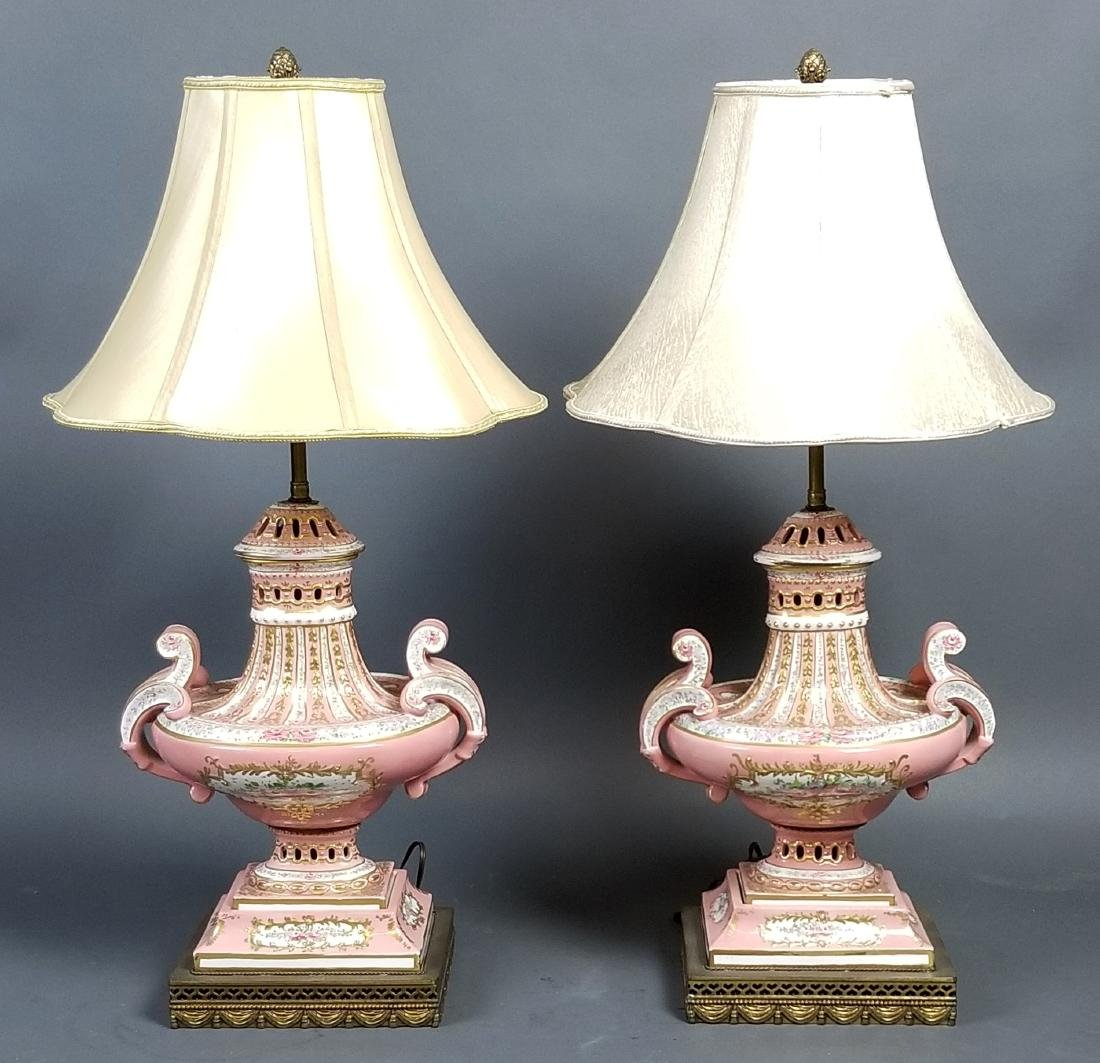 Pair of German Porcelain Lamps, Late 19th C.