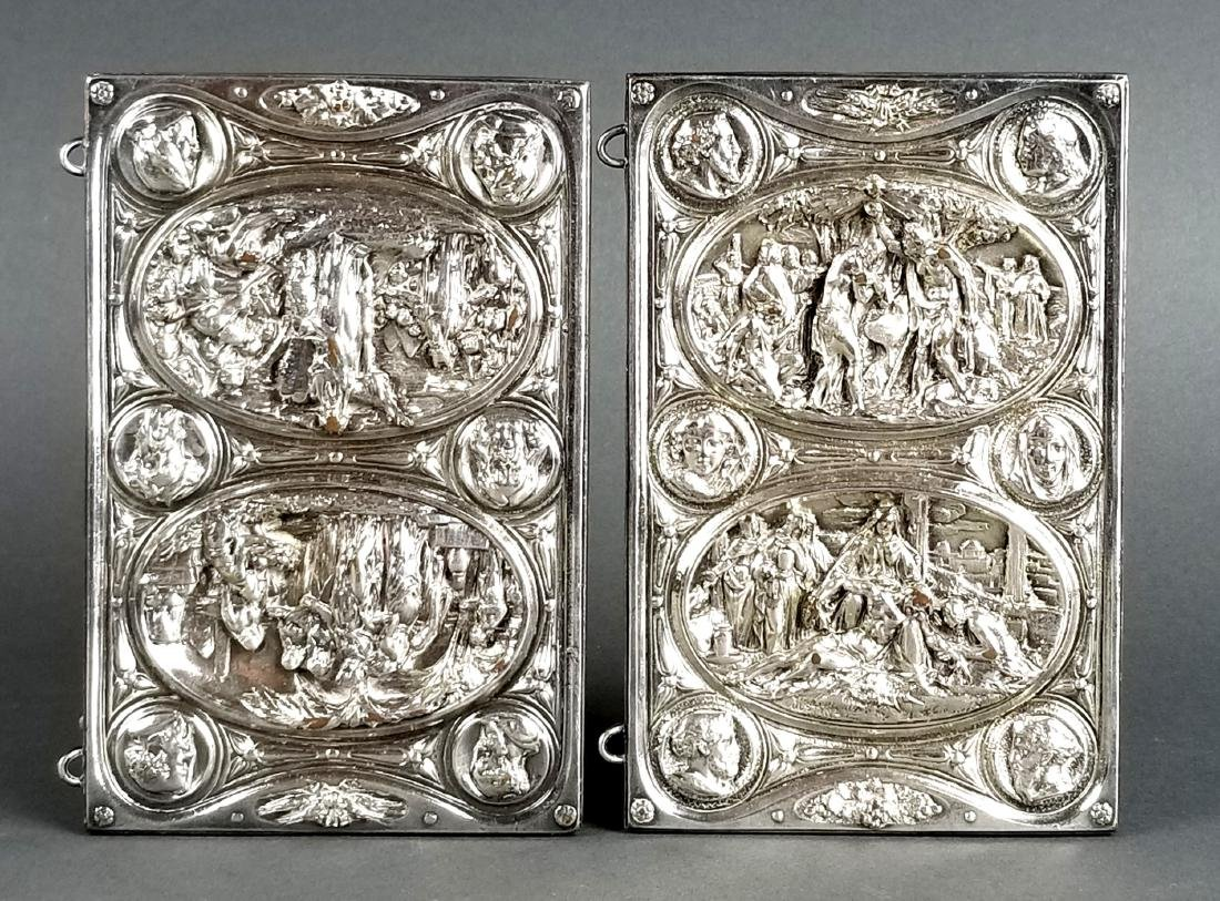 Pair of Biblical Silverplated on Copper Book Covers
