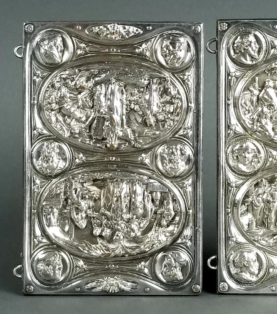 Pair of Biblical Silverplated on Copper Book Covers - 2