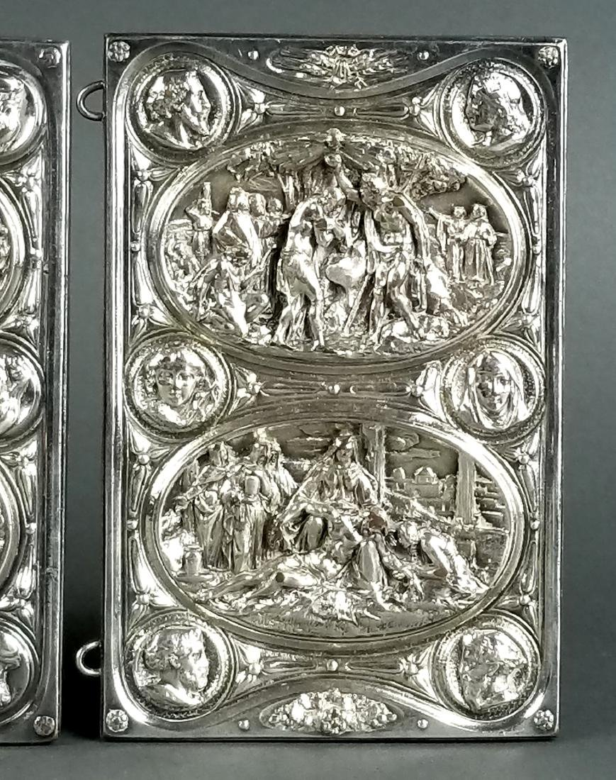 Pair of Biblical Silverplated on Copper Book Covers - 3