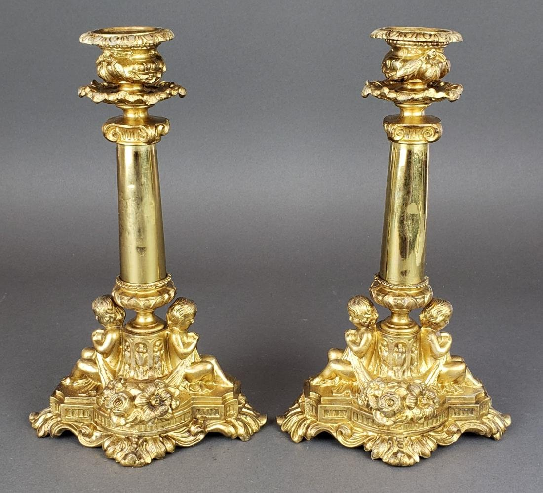 Pair of French Figural Bronze Candlesticks
